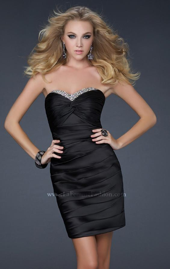 Picture of: Strapless Short Dress with Gems and Pleating in Black, Style: 16934, Detail Picture 2