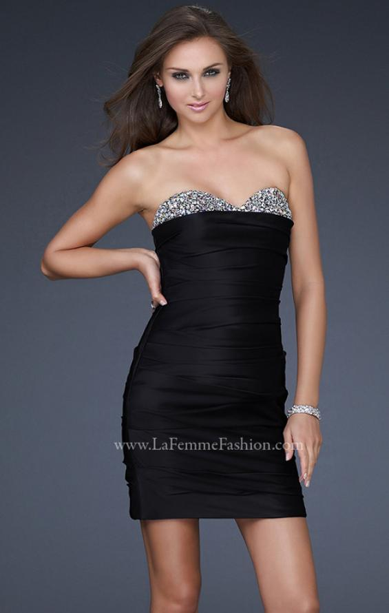 Picture of: Pleated Cocktail Dress with Jewel Encrusted Neckline in Black, Style: 16937, Main Picture