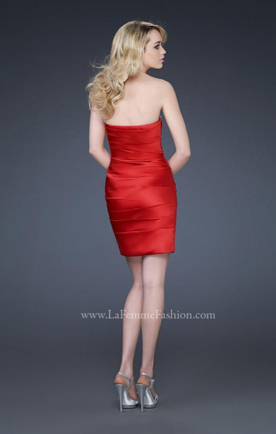 Picture of: Pleated Cocktail Dress with Jewel Encrusted Neckline in Red, Style: 16937, Back Picture