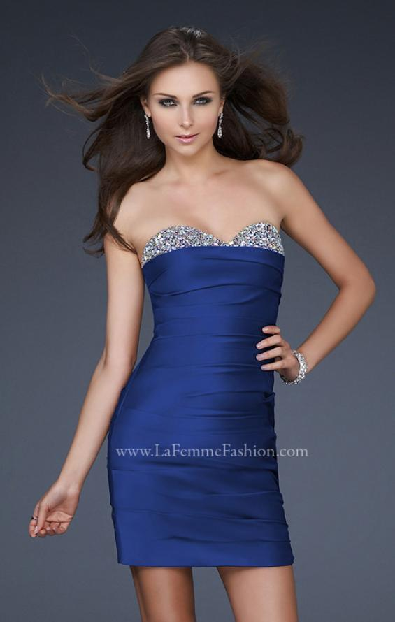 Picture of: Pleated Cocktail Dress with Jewel Encrusted Neckline in Blue, Style: 16937, Detail Picture 2