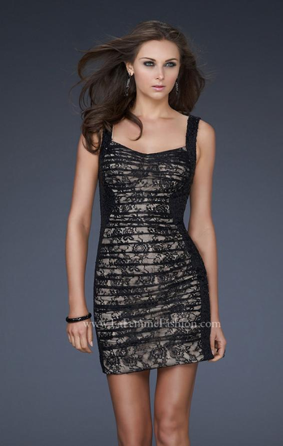 Picture of: Pleated Lace Cocktail Dress with Sequin Straps in Black, Style: 16940, Main Picture