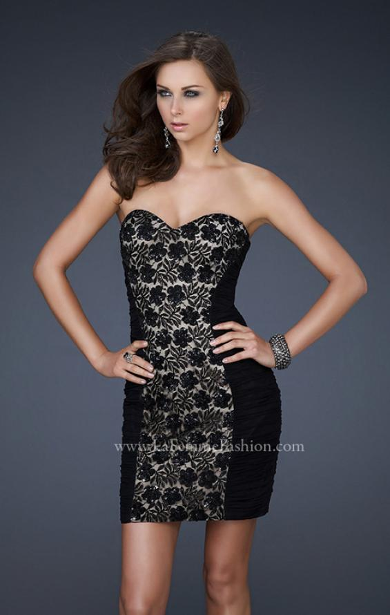 Picture of: Black Strapless Short Dress with Beaded Flower Design in Black, Style: 16944, Main Picture