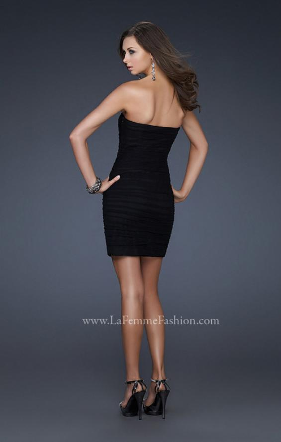Picture of: Black Strapless Short Dress with Beaded Flower Design in Black, Style: 16944, Back Picture