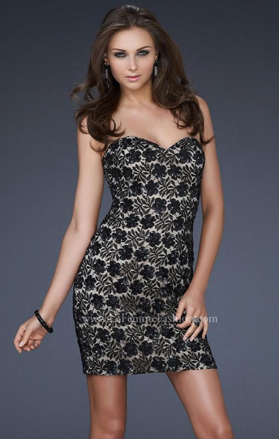 Picture of: Strapless Short Dress with Hand Crafted Sequin Detail, Style: 16945, Main Picture