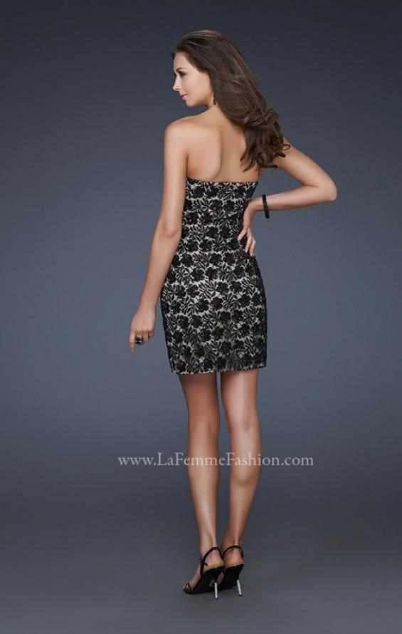 Picture of: Strapless Short Dress with Hand Crafted Sequin Detail, Style: 16945, Back Picture
