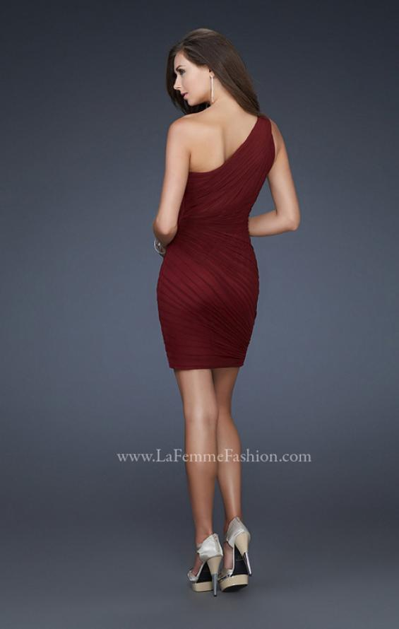Picture of: One Shoulder Strap Cocktail Dress with Pleated Detail, Style: 16950, Back Picture