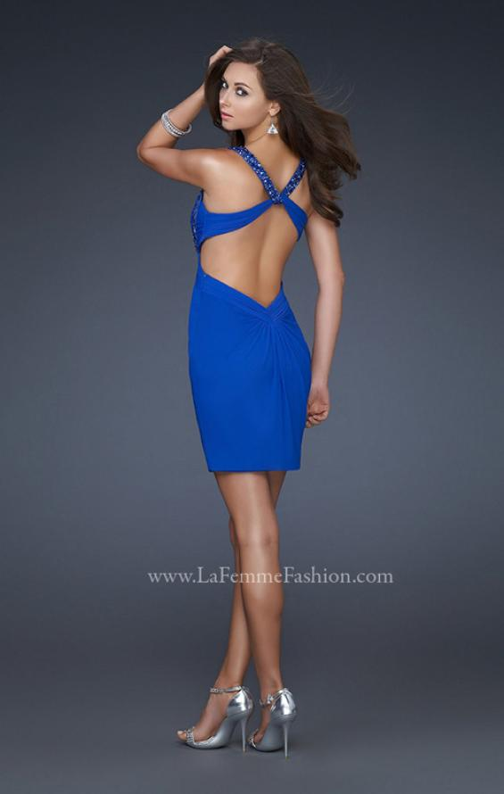 Picture of: Short Cocktail Dress with Beaded Straps and Gathering in Blue, Style: 16954, Back Picture