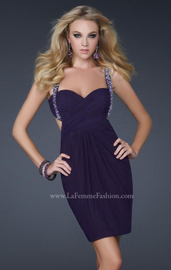 Picture of: Short Cocktail Dress with Beaded Straps and Gathering in Plum, Style: 16954, Detail Picture 1