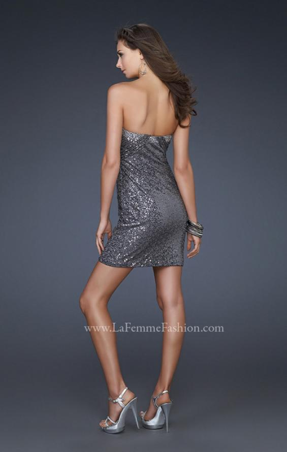 Picture of: Sequin Strapless Short Dress with Sweetheart Neckline, Style: 16955, Back Picture