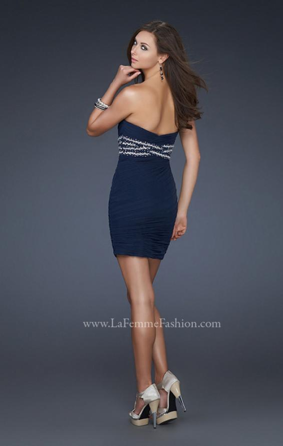 Picture of: Strapless Short Dress with Empire Waist and Beading in Blue, Style: 16956, Back Picture