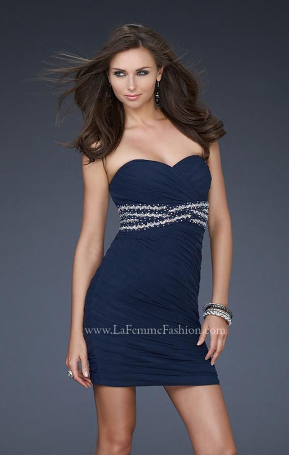 Picture of: Strapless Short Dress with Empire Waist and Beading in Blue, Style: 16956, Detail Picture 1
