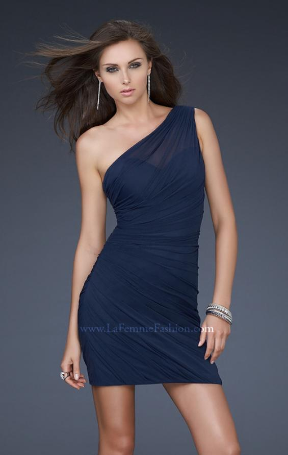 Picture of: One Shoulder Cocktail Dress with Gathering in Navy, Style: 16959, Main Picture