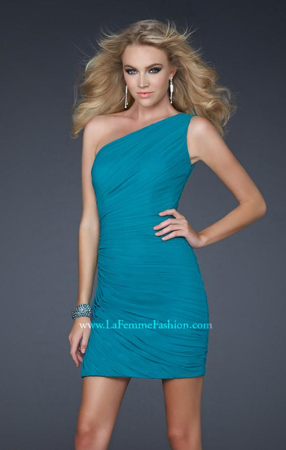 Picture of: One Shoulder Cocktail Dress with Gathering in Aqua, Style: 16959, Detail Picture 1