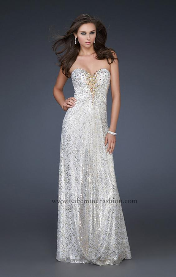 Picture of: Strapless Floor Length Gown with Beaded Detail in White, Style: 16969, Main Picture