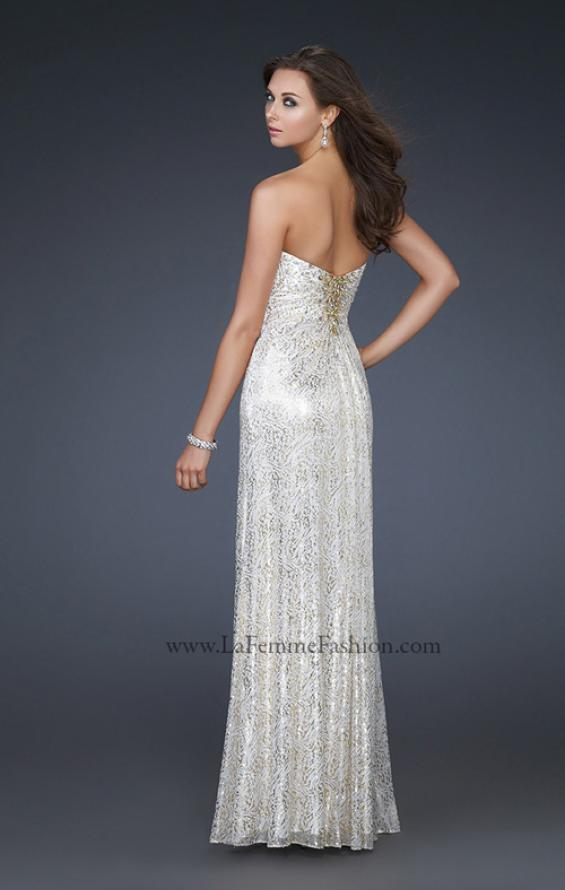 Picture of: Strapless Floor Length Gown with Beaded Detail in White, Style: 16969, Back Picture