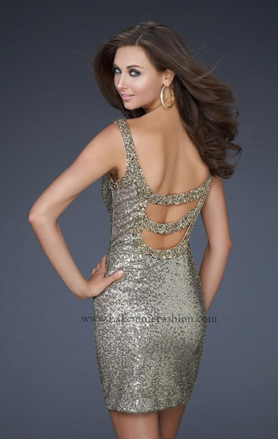 Picture of: Sequin Cocktail Dress with Beaded Double Straps in Gold, Style: 16971, Main Picture