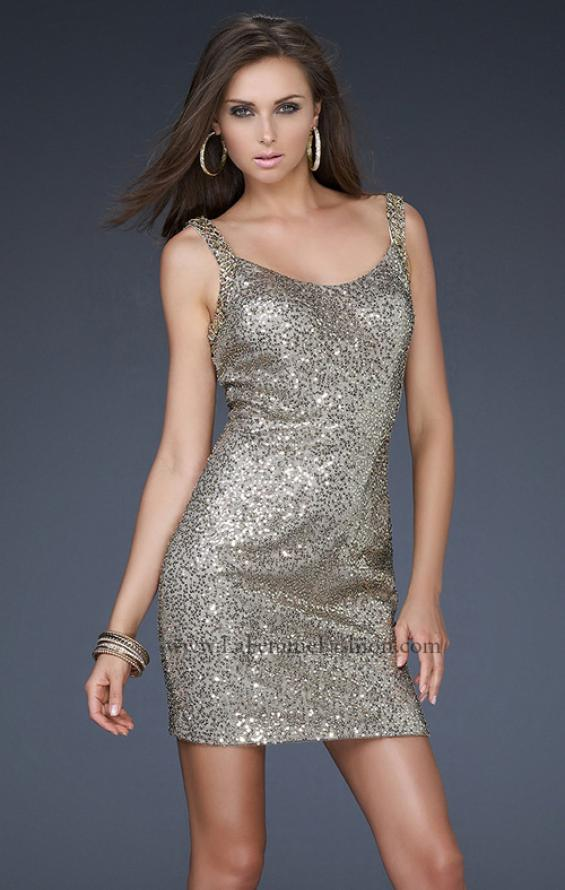 Picture of: Sequin Cocktail Dress with Beaded Double Straps in Gold, Style: 16971, Back Picture
