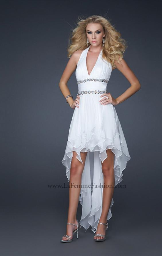 Picture of: High Low Prom Gown with Plunging V Halter Top in White, Style: 16986, Main Picture