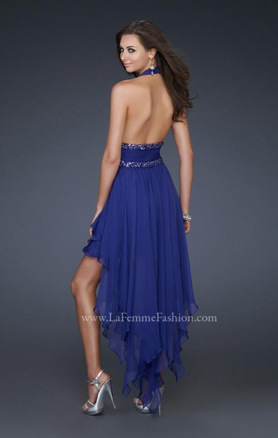Picture of: High Low Prom Gown with Plunging V Halter Top in Blue, Style: 16986, Back Picture