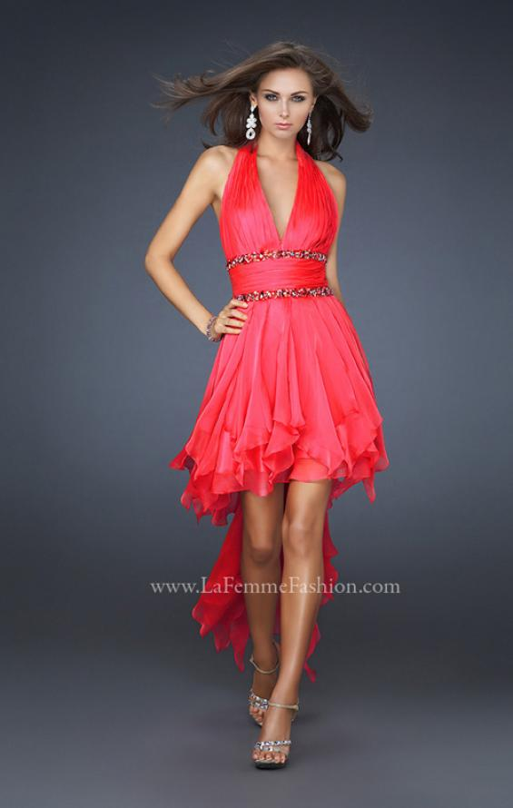 Picture of: High Low Prom Gown with Plunging V Halter Top in Red, Style: 16986, Detail Picture 1