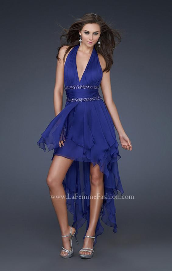 Picture of: High Low Prom Gown with Plunging V Halter Top in Blue, Style: 16986, Detail Picture 2