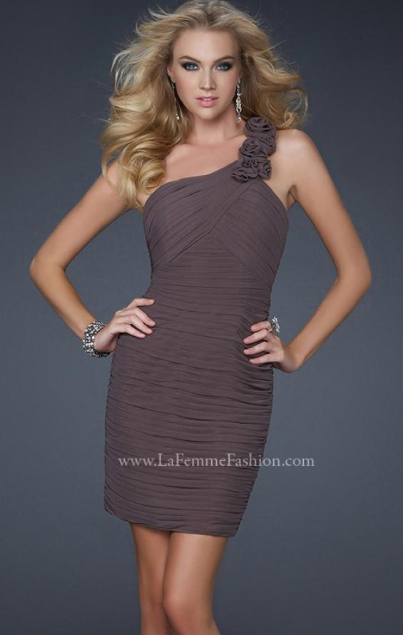 Picture of: Net Black Short Dress with One Shoulder Flower Detail, Style: 16993, Detail Picture 3