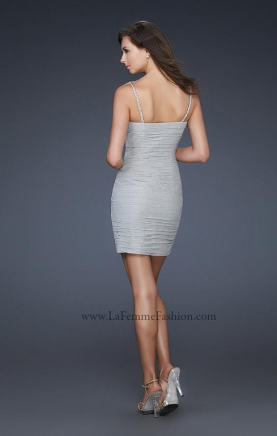Picture of: Spaghetti Strap Cocktail Dress with Metallic Net Detail, Style: 16994, Back Picture