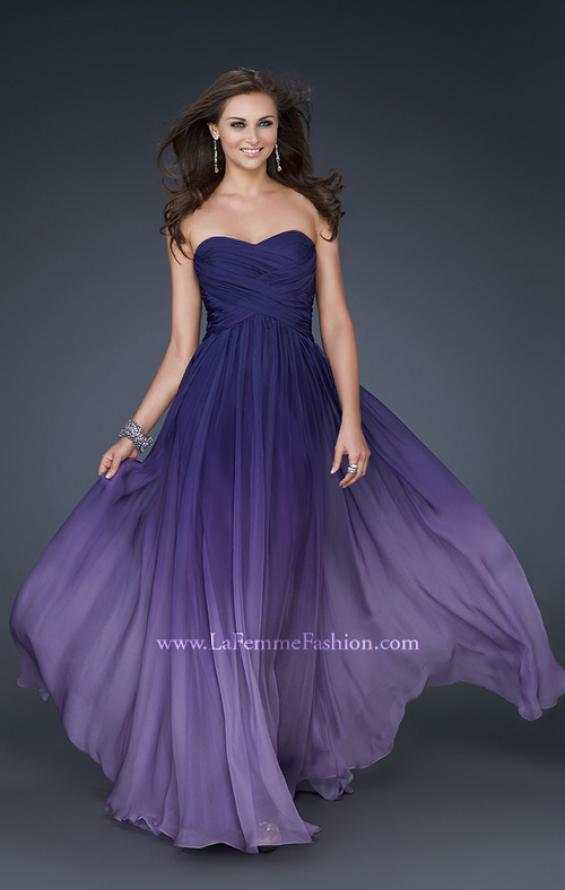 Picture of: Ombre Chiffon Prom Gown with Sweetheart Neckline, Style: 17004, Detail Picture 2
