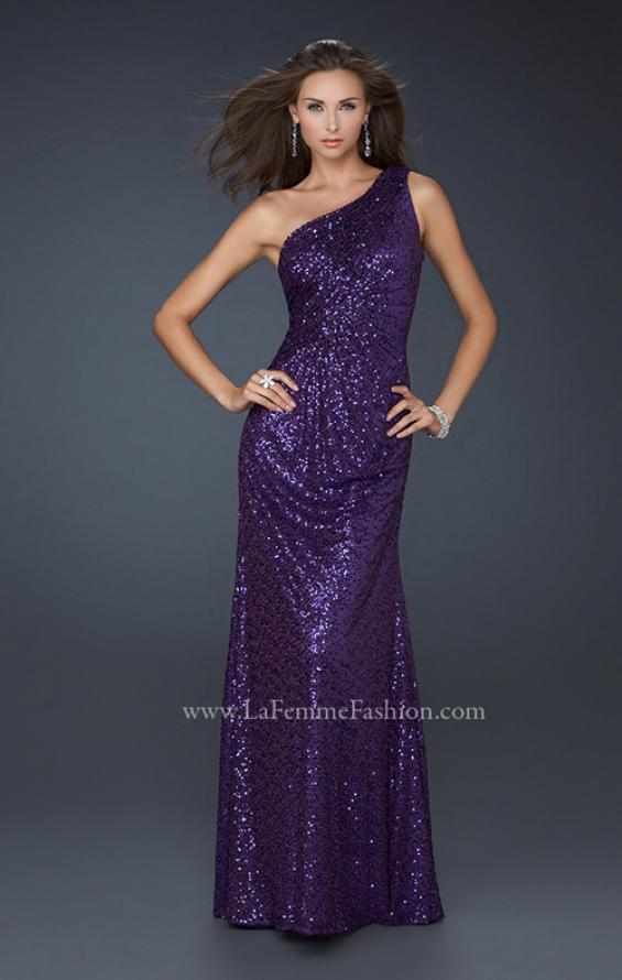Picture of: One Shoulder Sequined Long Prom Dress in Purple, Style: 17018, Main Picture