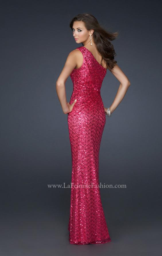 Picture of: One Shoulder Sequined Long Prom Dress in Red, Style: 17018, Back Picture