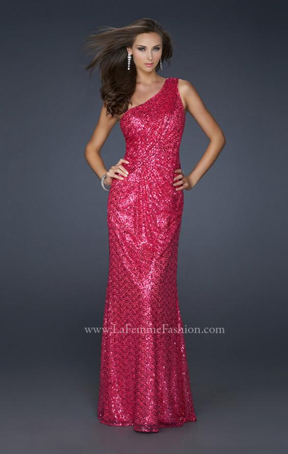 Picture of: One Shoulder Sequined Long Prom Dress in Red, Style: 17018, Detail Picture 1