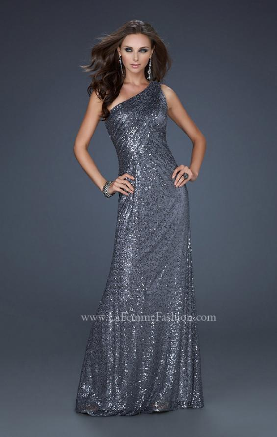 Picture of: One Shoulder Sequined Long Prom Dress in Silver, Style: 17018, Detail Picture 2