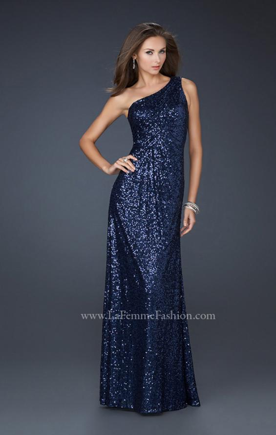 Picture of: One Shoulder Sequined Long Prom Dress in Navy, Style: 17018, Detail Picture 3