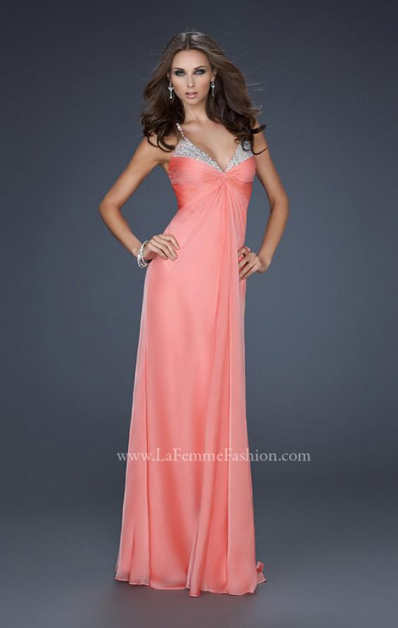 Picture of: Floor Length Chiffon Prom Gown with Stones and Cut Outs, Style: 17019, Detail Picture 3