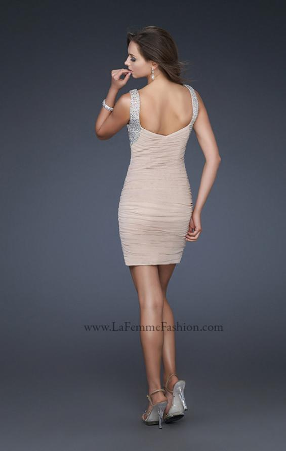 Picture of: Sexy Short Cocktail Dress with Jeweled Shoulder Straps, Style: 17021, Back Picture