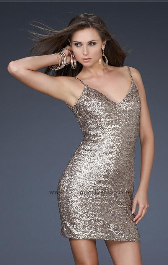 Picture of: Sequined Cocktail Dress with V Neckline in Gold, Style: 17023, Main Picture