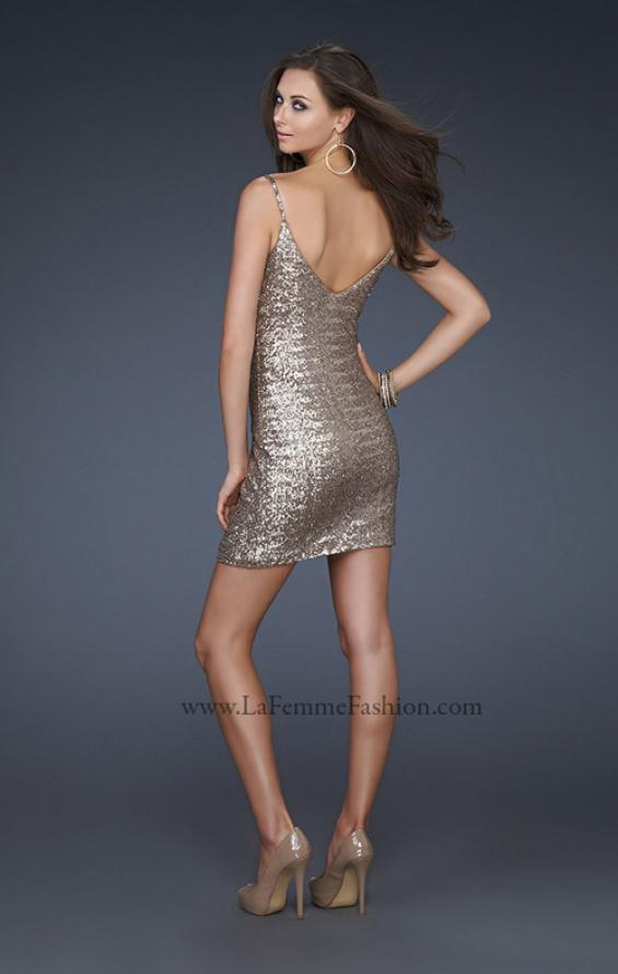 Picture of: Sequined Cocktail Dress with V Neckline in Gold, Style: 17023, Back Picture