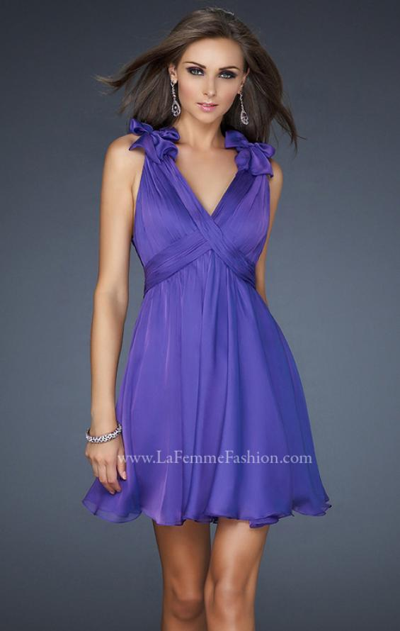 Picture of: Two Tone Chiffon Short Dress with Bows and Cut Outs in Purple, Style: 17044, Main Picture