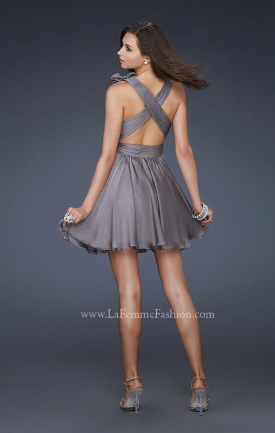 Picture of: Two Tone Chiffon Short Dress with Bows and Cut Outs in Silver, Style: 17044, Back Picture