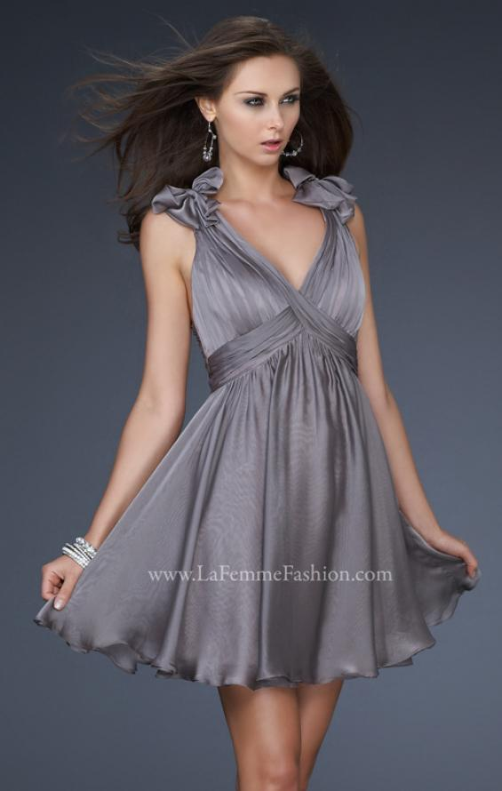 Picture of: Two Tone Chiffon Short Dress with Bows and Cut Outs in Silver, Style: 17044, Detail Picture 1