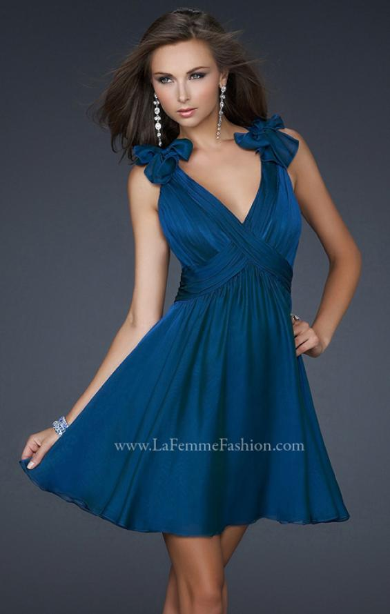 Picture of: Two Tone Chiffon Short Dress with Bows and Cut Outs in Navy, Style: 17044, Detail Picture 2