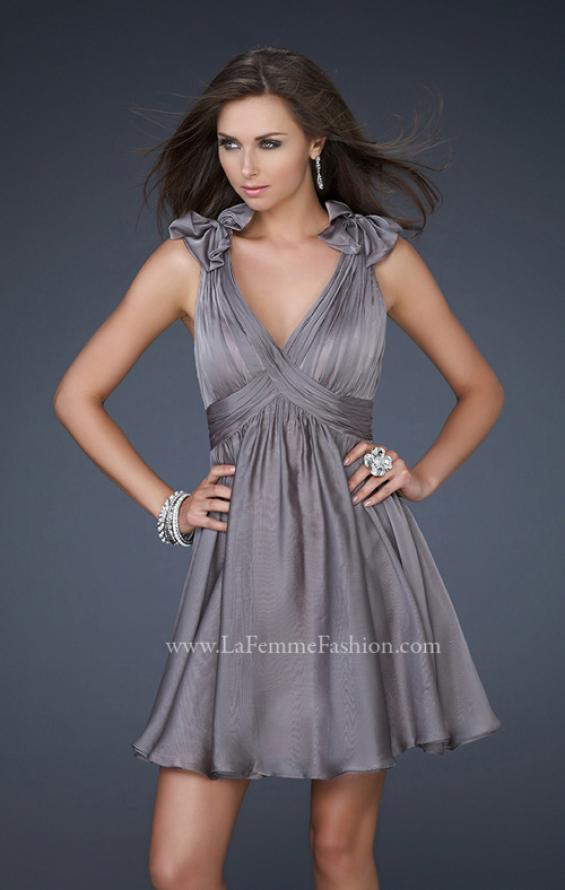 Picture of: Two Tone Chiffon Short Dress with Bows and Cut Outs in Silver, Style: 17044, Detail Picture 3