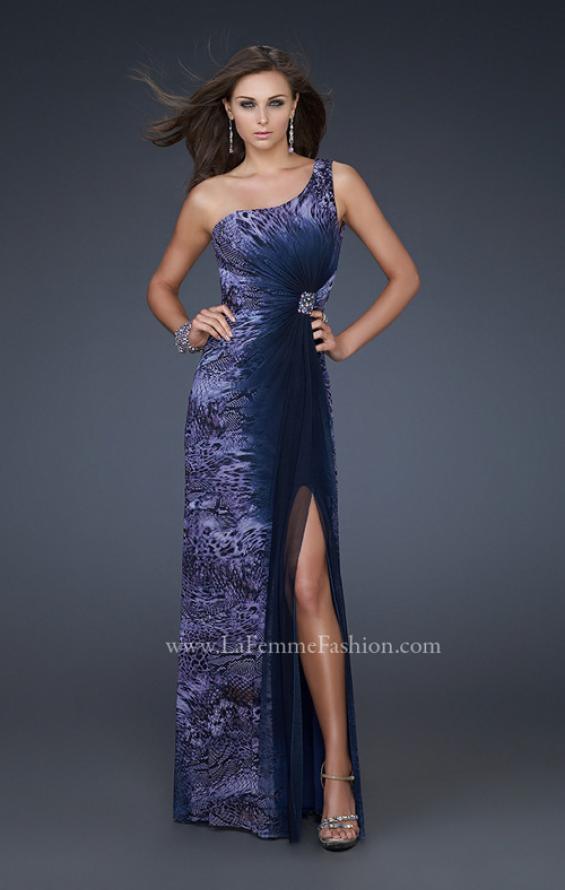 Picture of: Ombre Chiffon Prom Dress with Jeweled Embellishments in Blue, Style: 17049, Main Picture