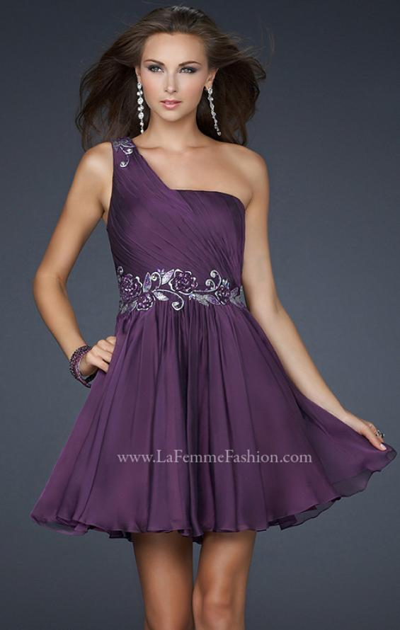 Picture of: Hand Painted Flower Design Short Dress with Layered Skirt in Purple, Style: 17052, Main Picture