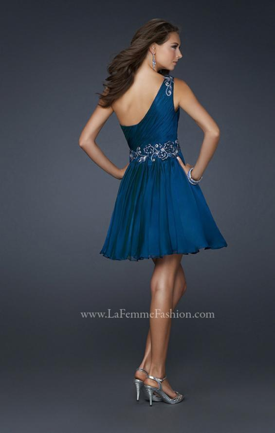 Picture of: Hand Painted Flower Design Short Dress with Layered Skirt in Navy, Style: 17052, Back Picture