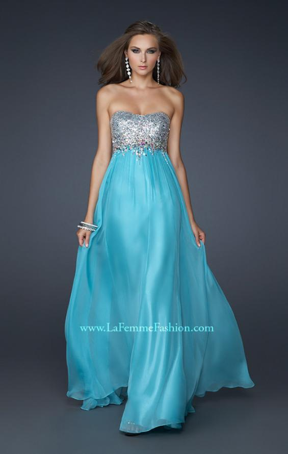 Picture of: Long Strapless Chiffon Prom Dress with Full Gathered Skirt, Style: 17058, Main Picture
