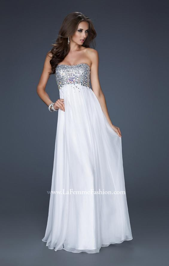 Picture of: Long Strapless Chiffon Prom Dress with Full Gathered Skirt, Style: 17058, Detail Picture 1
