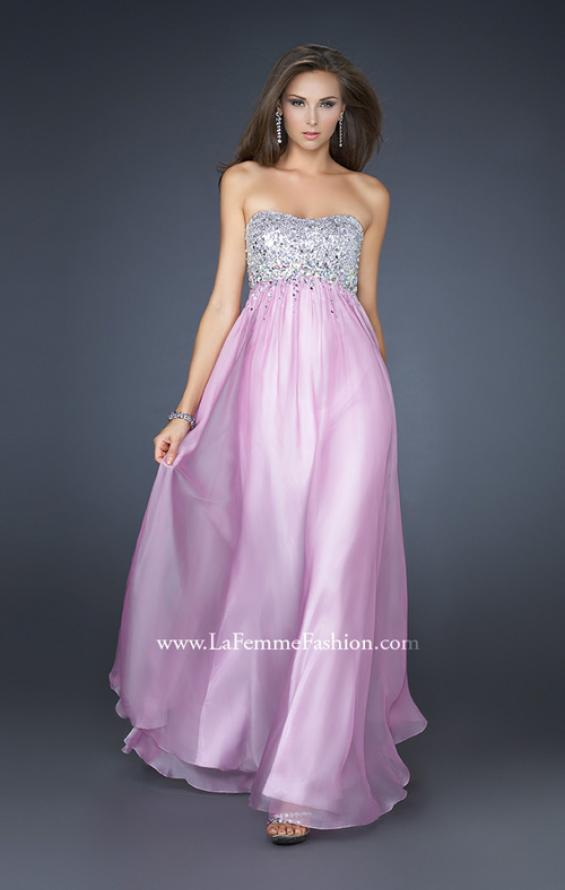 Picture of: Long Strapless Chiffon Prom Dress with Full Gathered Skirt, Style: 17058, Detail Picture 2
