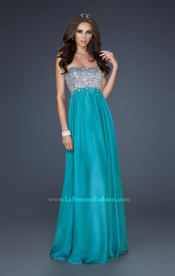 Picture of: Long Strapless Chiffon Prom Dress with Full Gathered Skirt, Style: 17058, Detail Picture 3