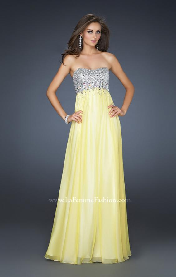 Picture of: Long Strapless Chiffon Prom Dress with Full Gathered Skirt, Style: 17058, Detail Picture 4